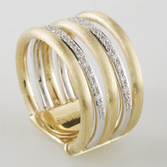 Marco Bicego Jaipur Link Yellow & White Gold Diamond 5 Row Ring AB479 B YW