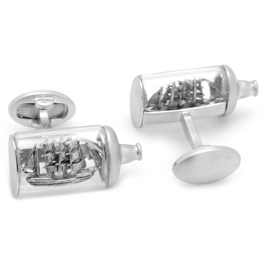 Jan Leslie Pirate Ship in a Bottle Glass & Sterling Silver Cufflinks S2600