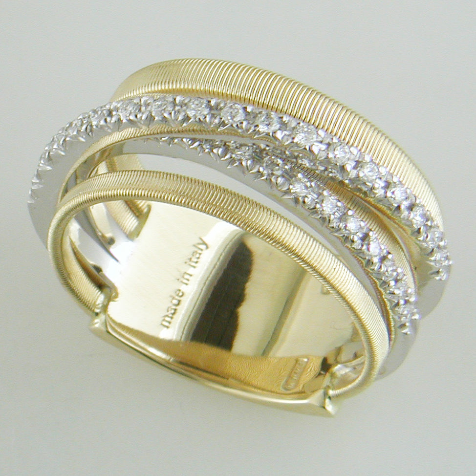 Marco Bicego 18 karat yellow gold 5-row Goa ring with two crossover rows of diamond AG315 B YW