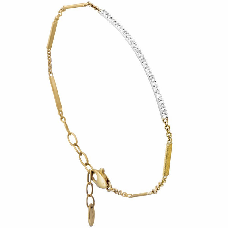Marco Bicego 18 Karat Yellow Gold Goa Diamond Bar Link Bracelet 7