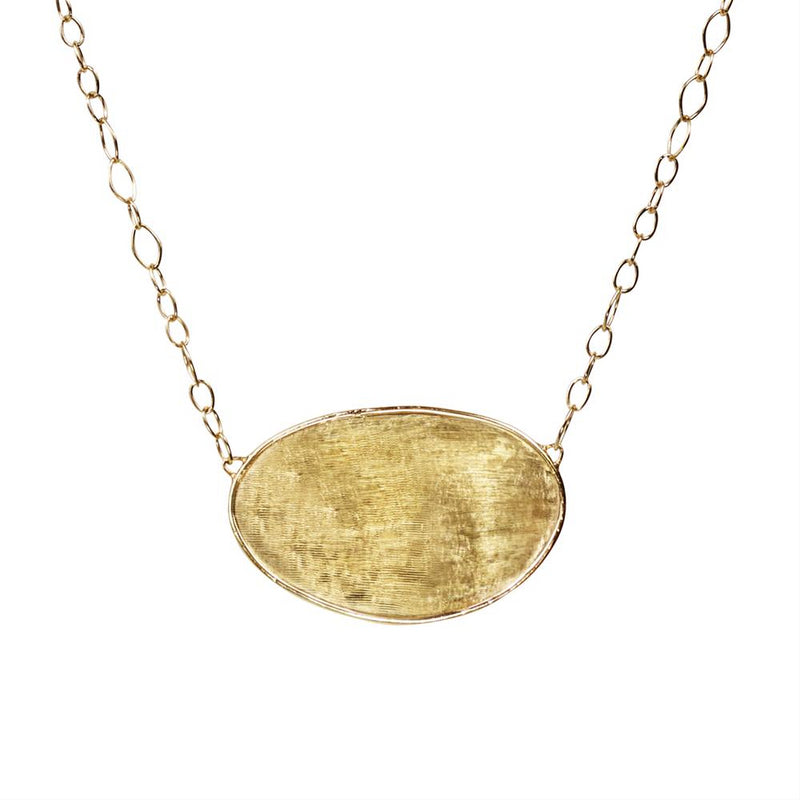 Marco Bicego Lunaria Small Oval 18K Yellow Gold Necklace Pendant 17.5