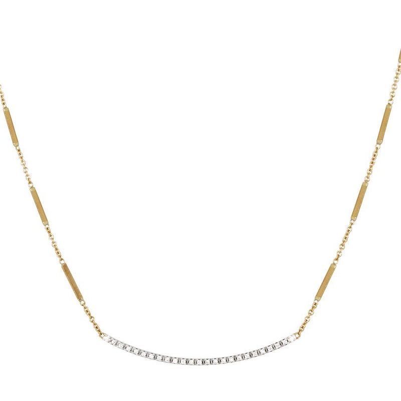 "Marco Bicego Goa Diamond Bar Yellow Gold Link Necklace 16"" CG713 B YW"