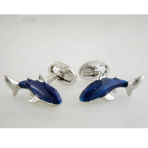 Jan Leslie Blue Great White Circling Shark Cufflinks with Hand-Painted Enamel