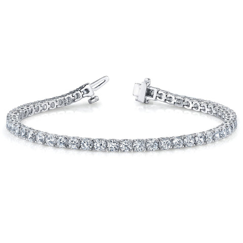Single Row Prong Set Round Diamond Tennis Bracelet 7.52 Carat 18K