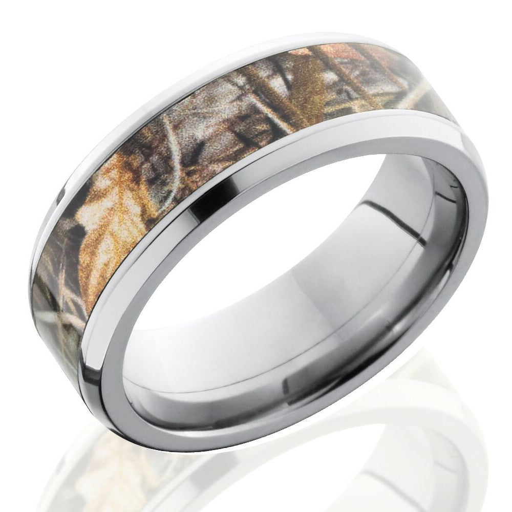Lashbrook 8mm Titanium Men's Flat Wedding Band Ring with Realtree Max4 Camouflage Inlay