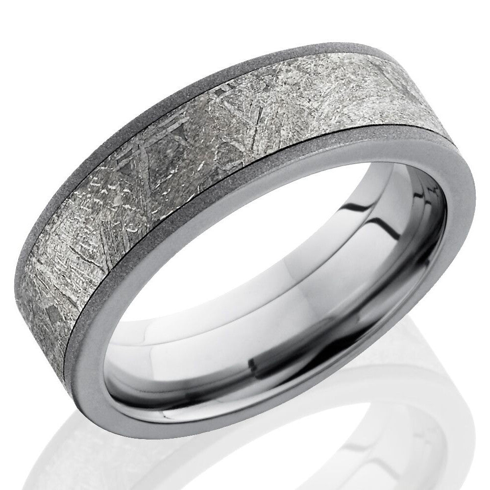 Lashbrook 7mm Titanium Men's Flat Wedding Band Ring with Meteorite Inla