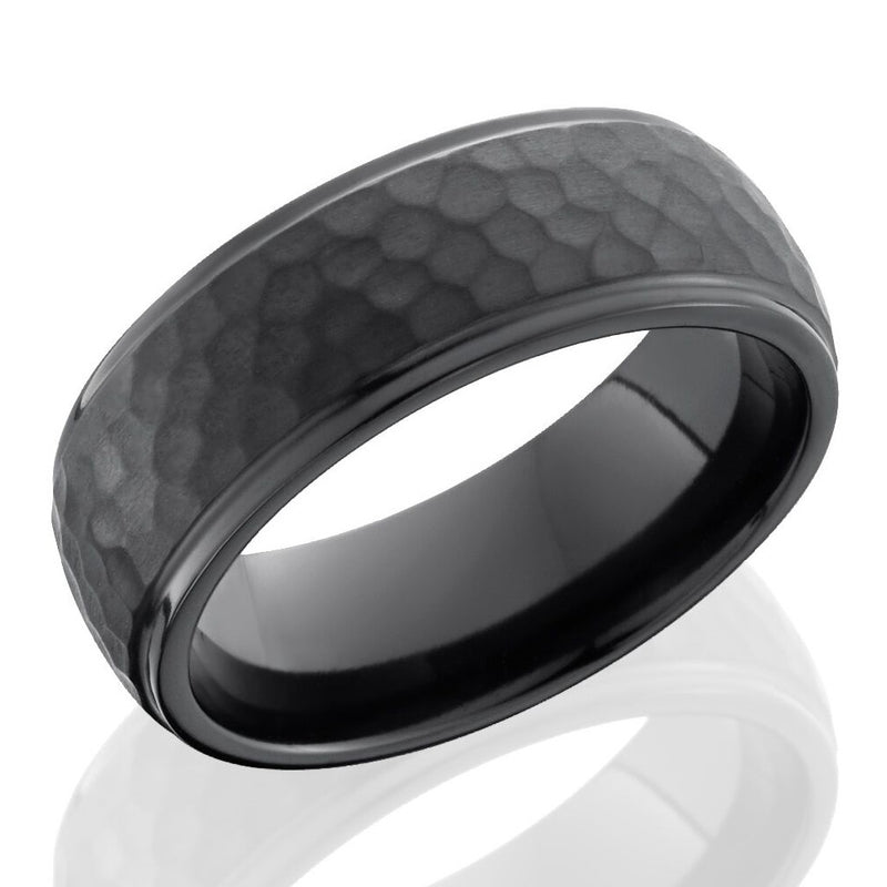 Lashbrook 8mm Black Zirconium Domed Men's Wedding Band Ring Hammered