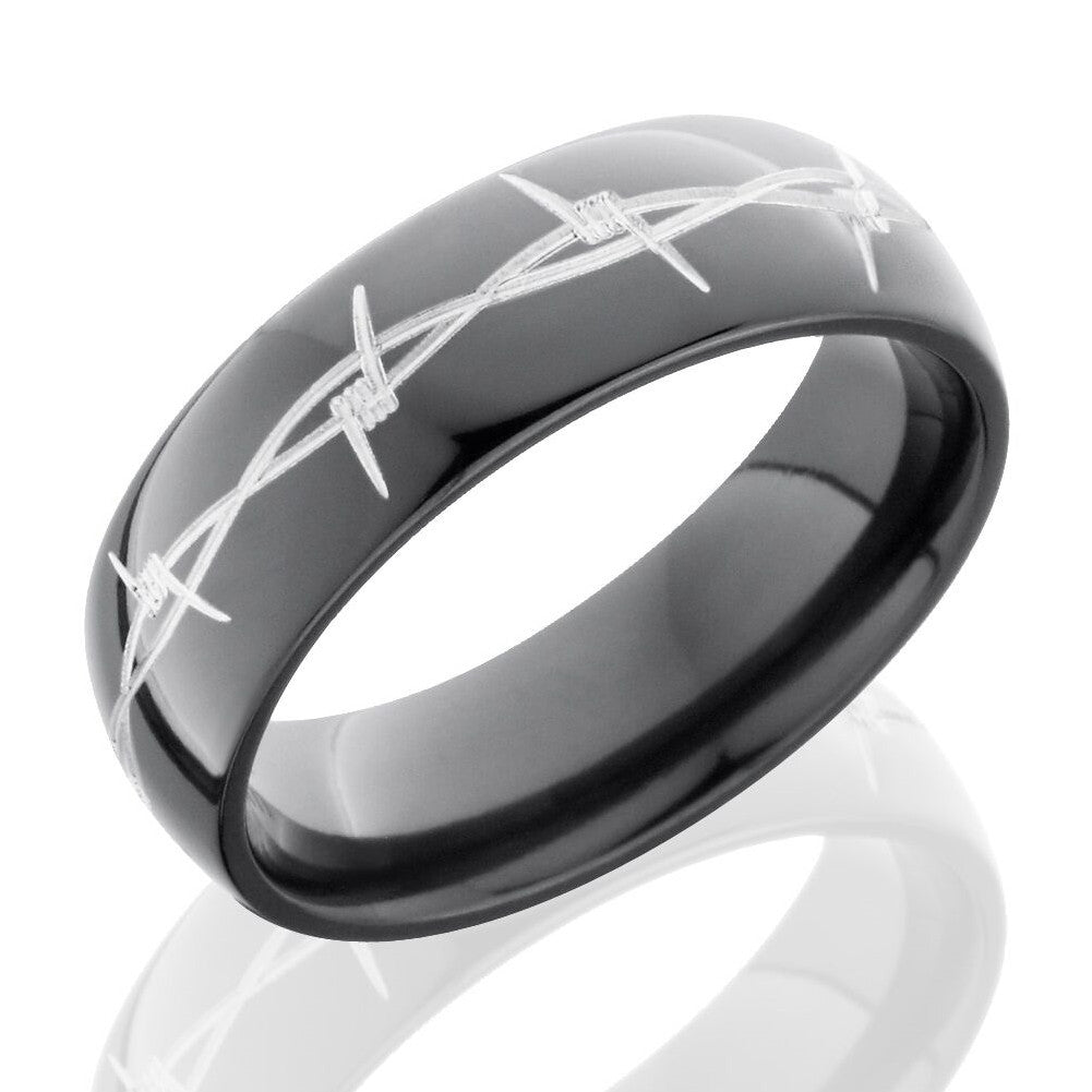 Lashbrook 7mm Black Zirconium Domed Men's Wedding Band Ring with Barbed Wire Pattern