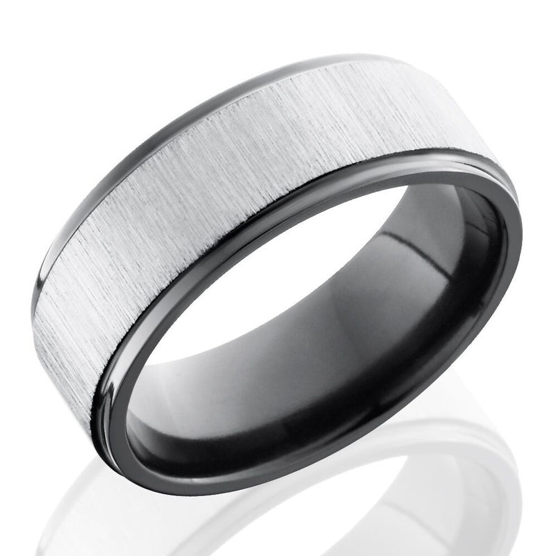 Lashbrook 8mm Black Zirconium Flat Men's Wedding Band Ring with Grooved Edges