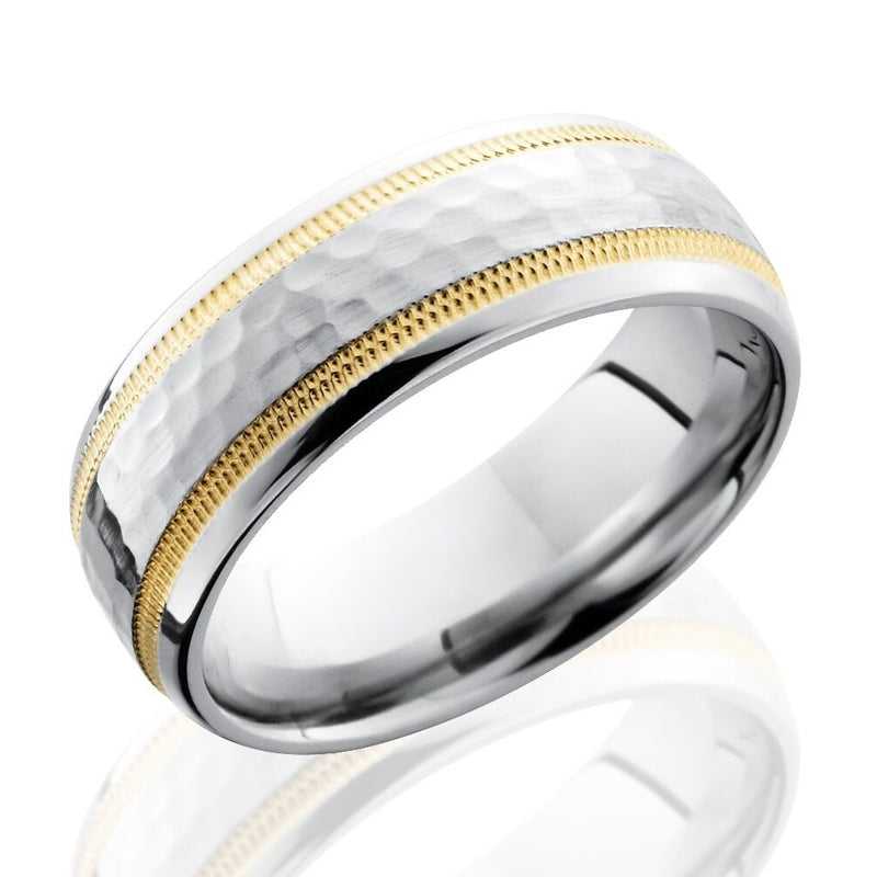 Lashbrook 7mm Cobalt Chrome Men's Domed Hammered Wedding Band Ring with Yellow Gold