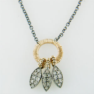 Dana Kellin Three Feather Necklace Blackened Silver & Yellow Gold