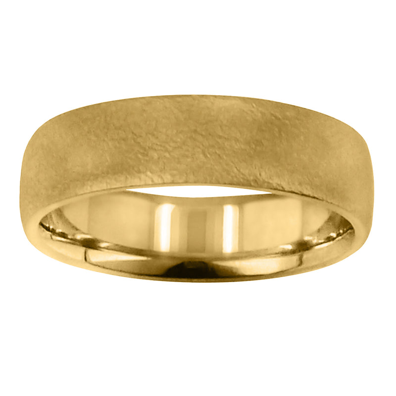 Men's 6mm 14K Yellow Gold Brushed Wedding Band Ring