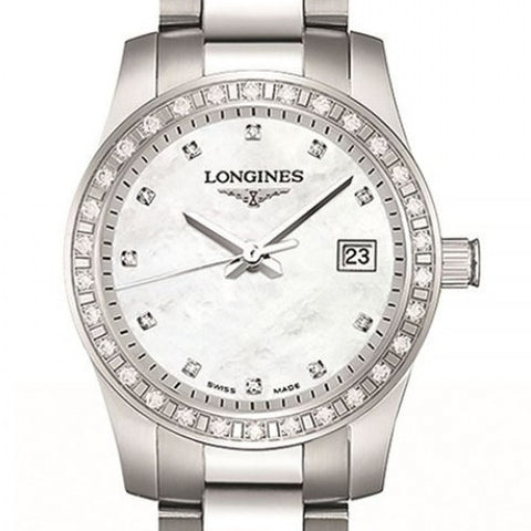 Longines Conquest Quartz Mother of Pearl Stainless Steel Watch 29MM L33000876 Nagi jewelers