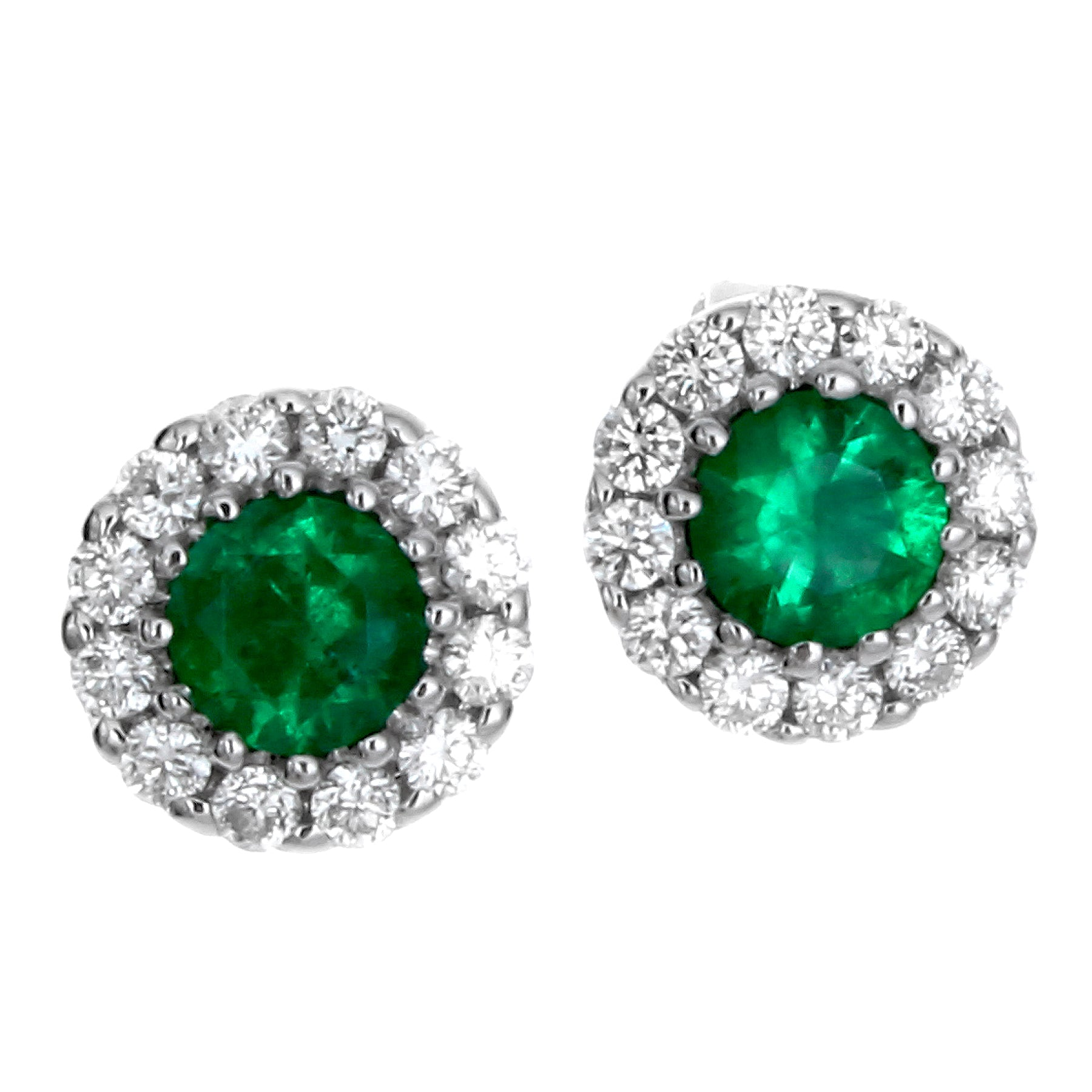 Gregg Ruth Emerald & Diamond Round Halo Stud Earrings 18K White Gold