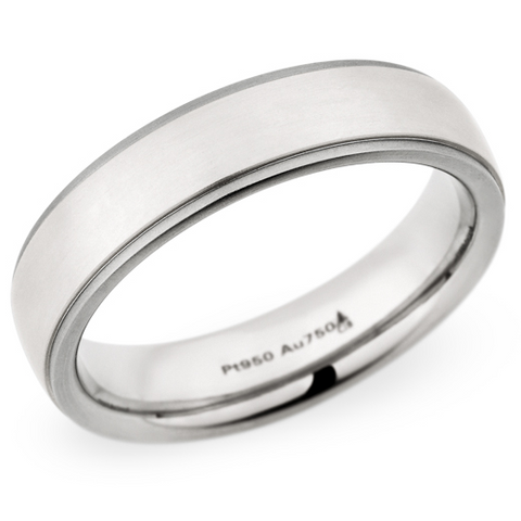 Christian Bauer Men's Palladium & 18K White Gold Wedding Band Ring 5.5mm