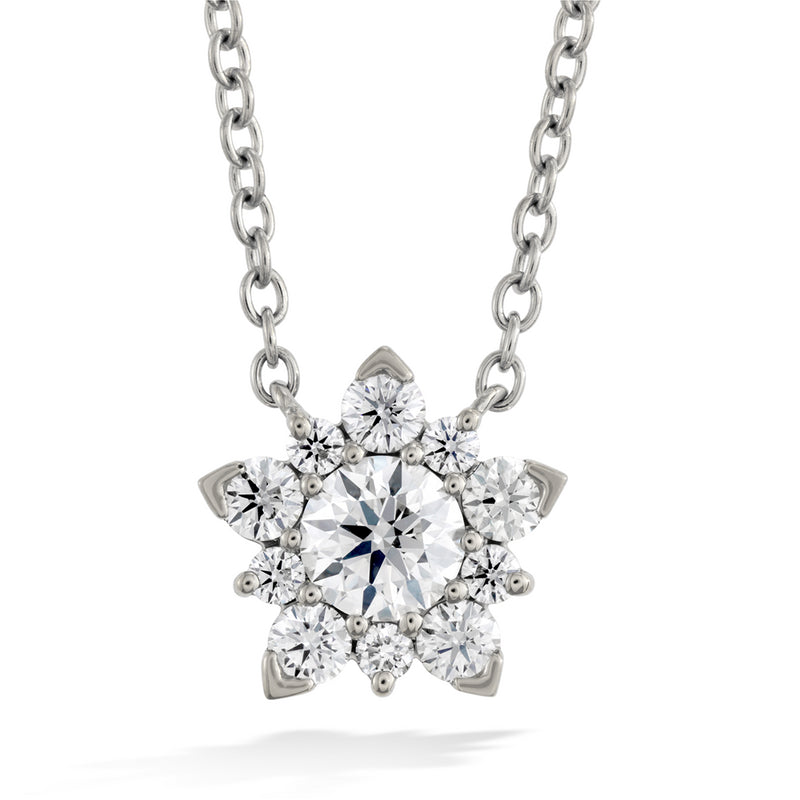 Hearts on Fire Aerial Cluster Diamond Snowflake Pendant Necklace 18K White Gold