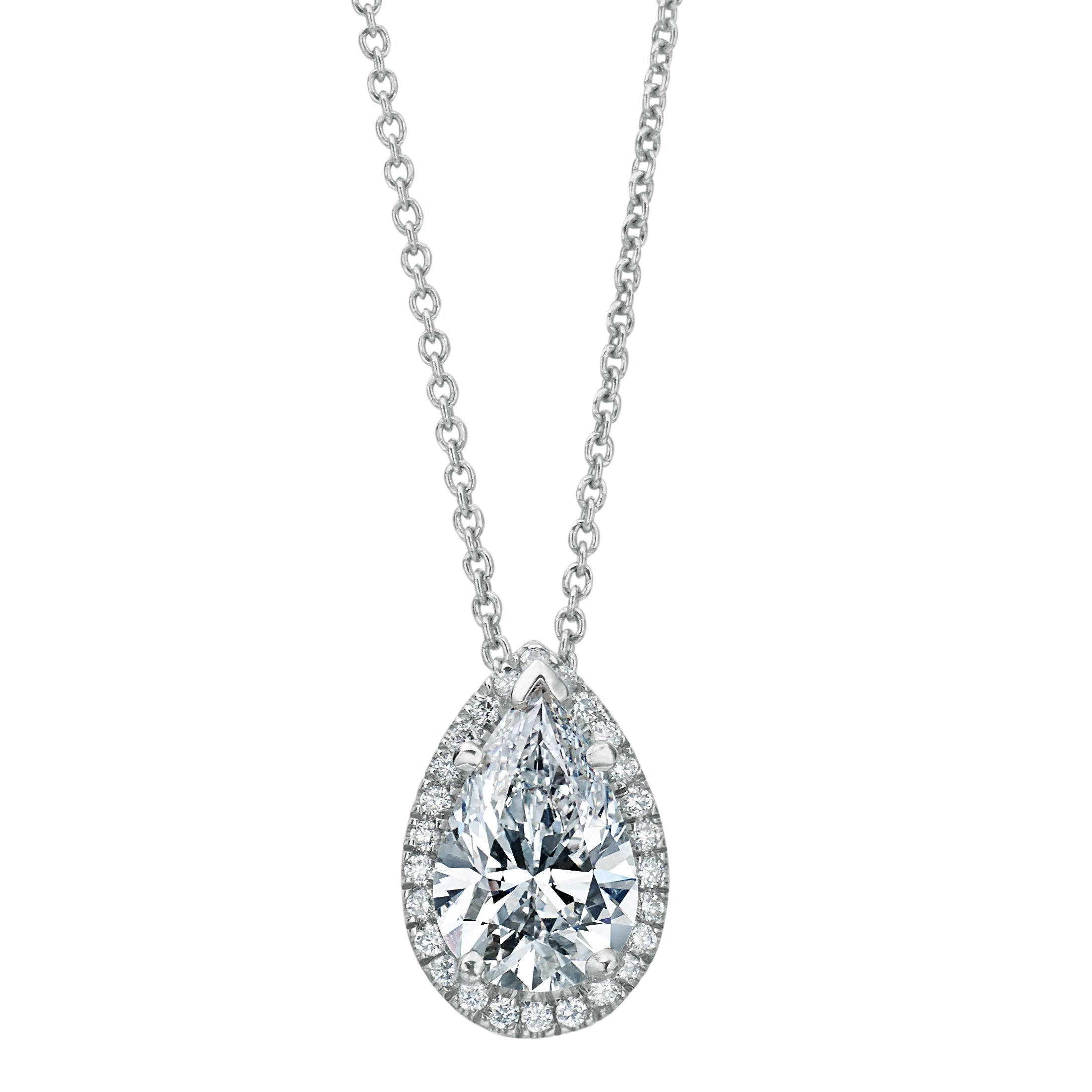 pear swarovski link shape crystals diamond eyjsxg v necklace halo clear bridal pendant i with crystal shimmering like