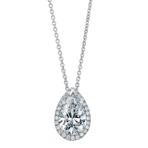 Pear Shape Diamond Halo Pendant Necklace 18K White Gold