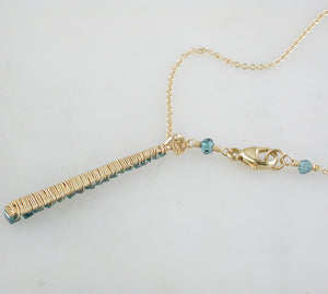 Dana Kellin Greenish-Blue (Teal) Diamond Vertical Pendant Necklace 14K Yellow Gold Wrapped Wire 18""