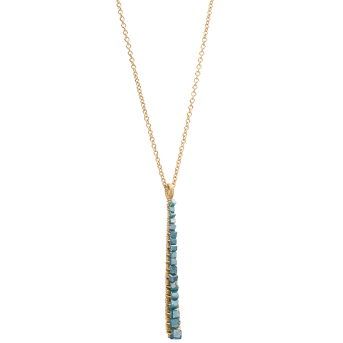 Dana Kellin Greenish-Blue (Teal) Diamond Verticle Pendant Necklace 14K Yellow Gold Wrapped Wire 18""