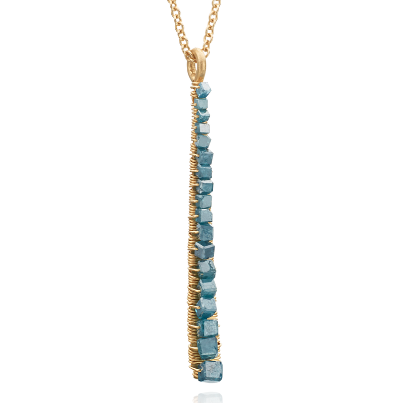 Dana Kellin Greenish-Blue (Teal) Diamond Vertical Pendant Necklace 14K Yellow Gold Wrapped Wire 18