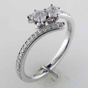 "Forevermark ""Ever Us"" Two Stone Diamond Ring 18K White Gold 1/2 Carat Total"