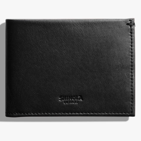 Shinola Black Leather Slim Bi-Fold Wallet