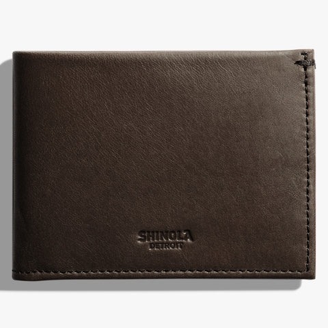 Shinola Deep Brown Leather Slim Bi-Fold Wallet stamford