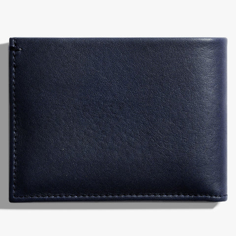Shinola Navy Blue Leather Slim Bi-Fold Wallet stamford