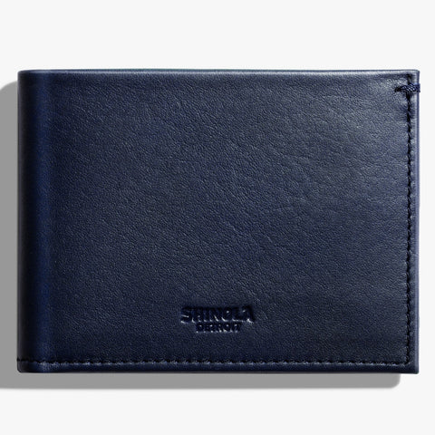Shinola Navy Blue Leather Slim Bi-Fold Wallet mens accessories