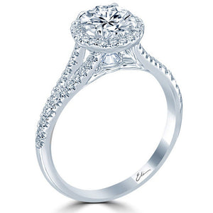 Point of Love Round Brilliant 1 Carat Diamond Halo Platinum Engagement Ring Split Shank