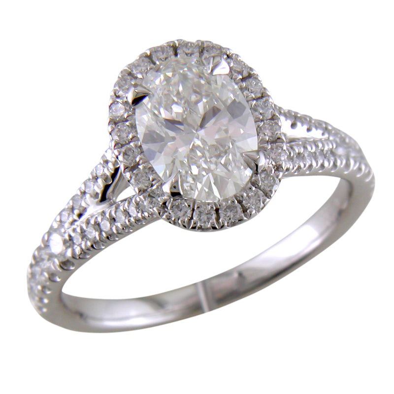 Oval Brilliant 1 Carat Diamond Platinum Custom Split Shank Engagement Ring