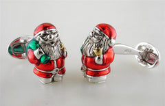 Jan Leslie Santa Claus Cufflinks Red Green Enamel Sterling Silver S0166