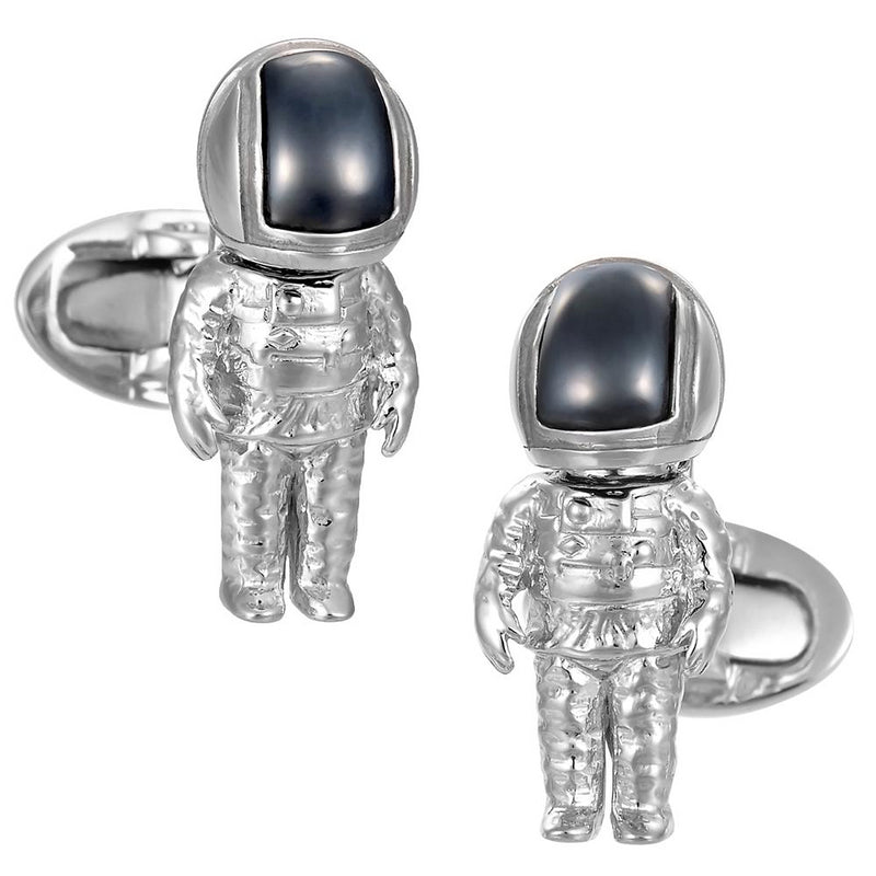 Jan Leslie Astronaut Hematite Bobble Head Helmet Cufflinks Sterling Silver NASA S0119