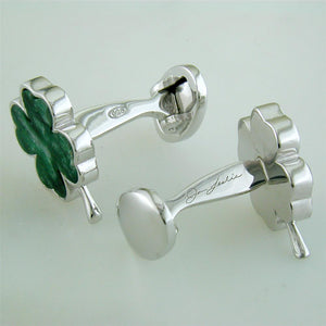 Jan Leslie Four Leaf Clover Silver Cufflinks in Italian Green Chalcedony