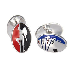 "Jan Leslie Sterling Silver Enamel ""Four Vices"" Betting Alcohol Women Gambling Cufflinks S0139"