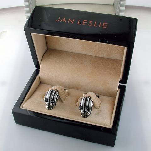 Jan Leslie Striped Skulls Grey Black Enamel Cufflinks Sterling Silver S4165BK