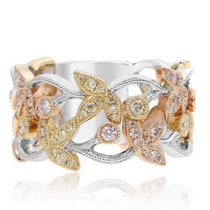 Delicate Antique Milgrain Flowers on Vine Diamond Ring Band Tri-Color 14K Gold