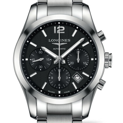 Longines Conquest Classic Chronograph Quartz Black Dial Watch 41MM L27864566 stamford