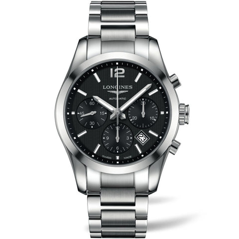 Longines Conquest Classic Chronograph Quartz Black Dial Watch 41MM L27864566 nagi fairfield