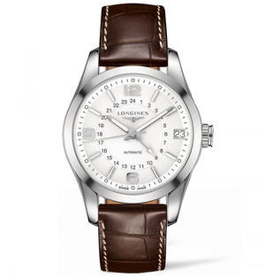 Longines Automatic Conquest White Dial Brown Alligator 42MM L27994763 nagi