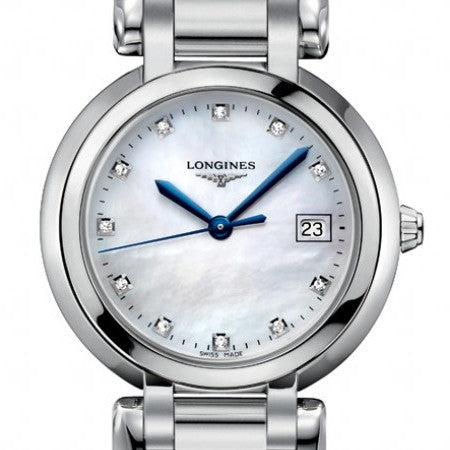 Longines Primaluna Quartz Mother of Pearl Diamond Markers 30MM L81124876 stamford
