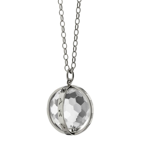 "Monica Rich Kosann ""Carpe Diem"" Necklace Silver Sterling 7/8"" Large Rock Crystal Charm 30"" Chain"