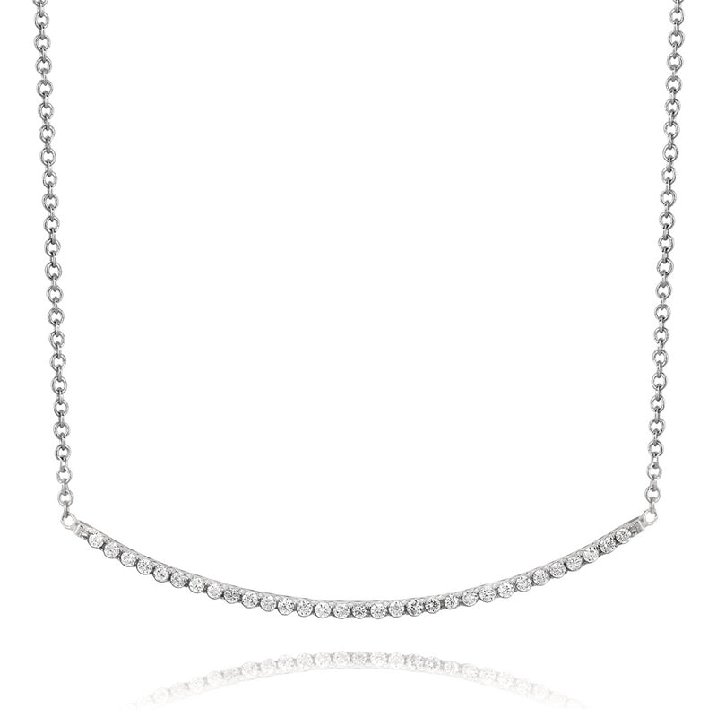 Linear Curved Horizontal Diamond Line Pendant necklace in 18K White Gold