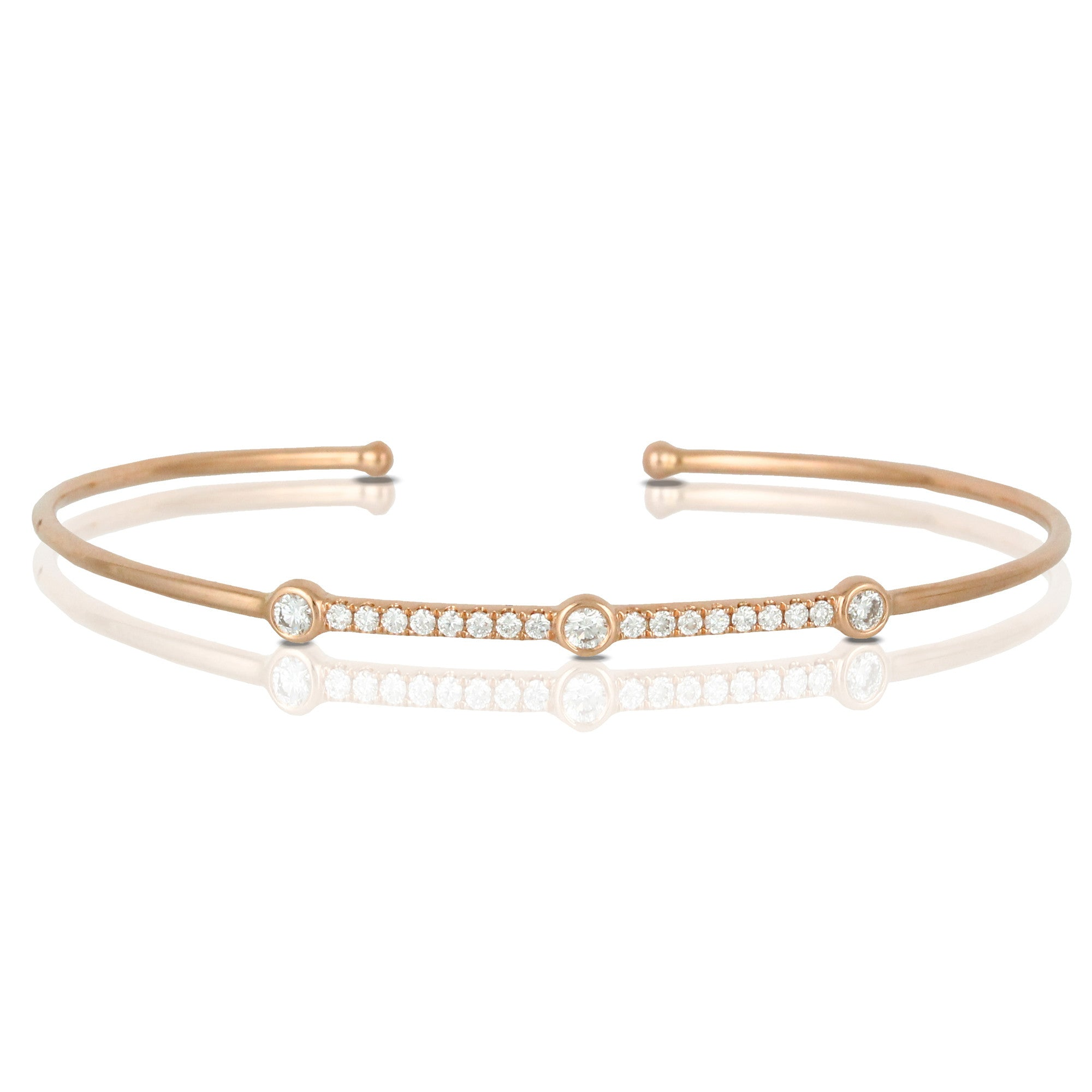 Doves 18K Rose Gold Open Bangle Cuff Bracelet with Diamonds