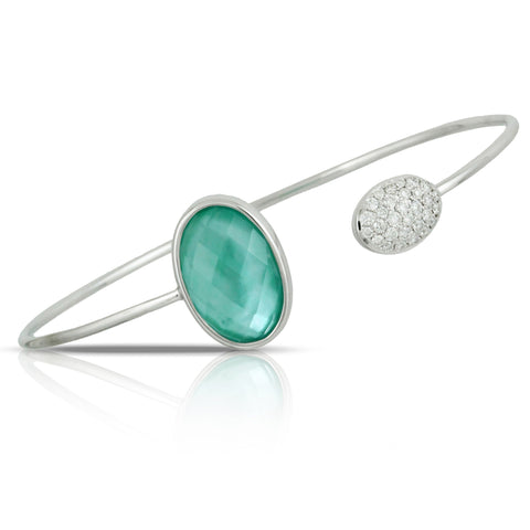 "Doves ""Cypress Grove"" Green Prasiolite Quartz, Mother of Pearl, & Agate Oval White Gold Bnagle Bracelet with Diamonds"