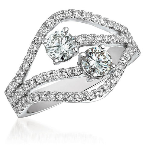 Affinity Two Stone Diamond Right Hand Ring 18K White Gold