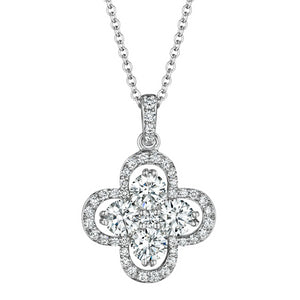Forevermark 18K White Gold Clover Pendant Necklace .94 Carats