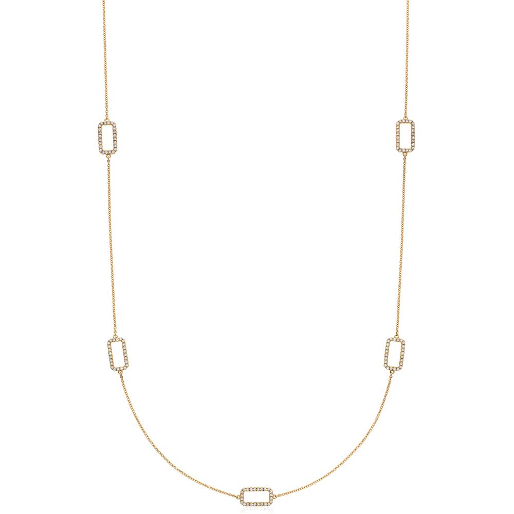 Rectangle Link Open Pave Diamond Necklace in 14K Yellow Gold