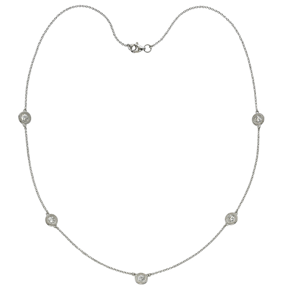 Five Diamond By The Yard Necklace with Milgrain 14K White Gold